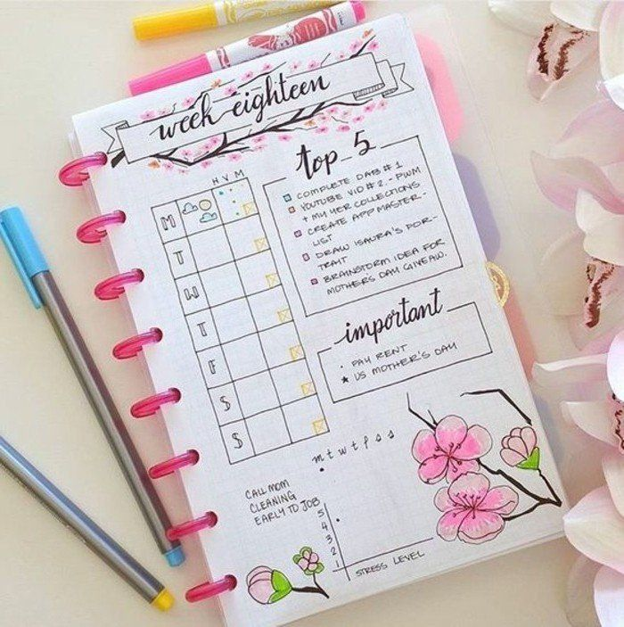 comment organiser et customiser son agenda 62 id es diy agenda scolaire dessins de fleurs. Black Bedroom Furniture Sets. Home Design Ideas