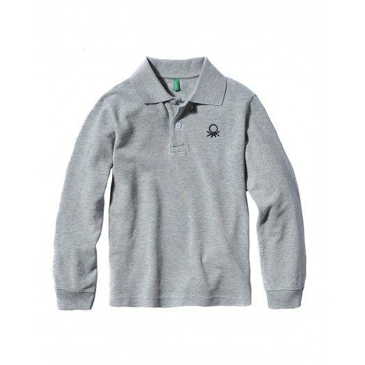 Polo manica lunga, finitura bordo maniche in costina, in cotone con logo ricamato in alto a sinistra.3089C3302 GREY