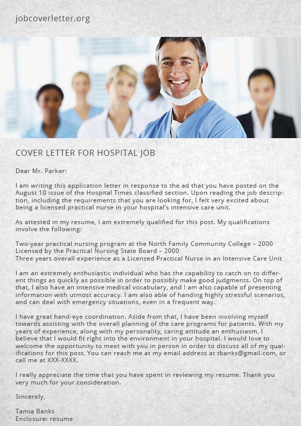 Writing A Cover Letter For Hospital Job Job Cover Letter Job Cover Letter Examples Writing A Cover Letter