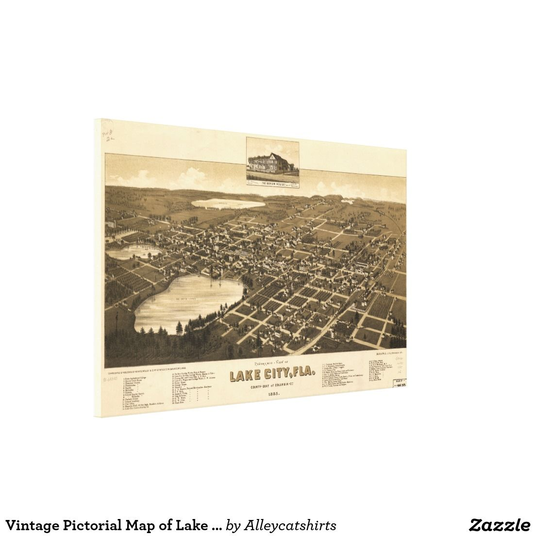 Map Of Lake City Florida.Vintage Pictorial Map Of Lake City Florida 1885 Canvas Print