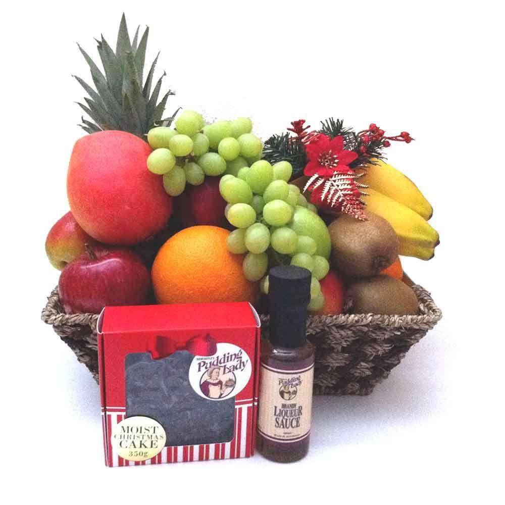 Christmas Fruit Basket The Pudding Lady Christmas Cake And Liqueur Sauce Fruit Basket Gift Christmas Fruit Fruit