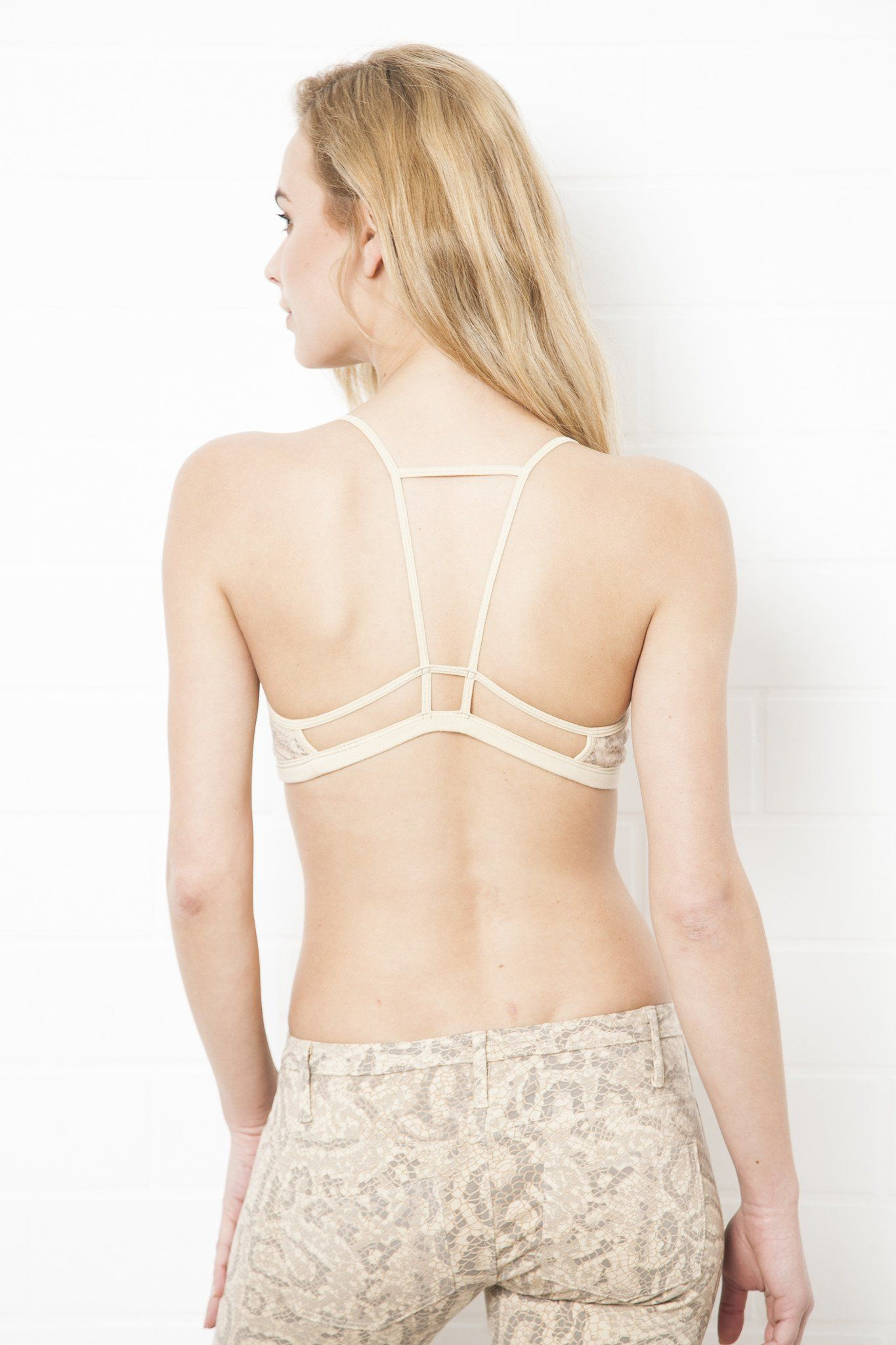 Backless bra for wedding dress  String Bra Top  Cream Dragon Print A simple and super comfortable