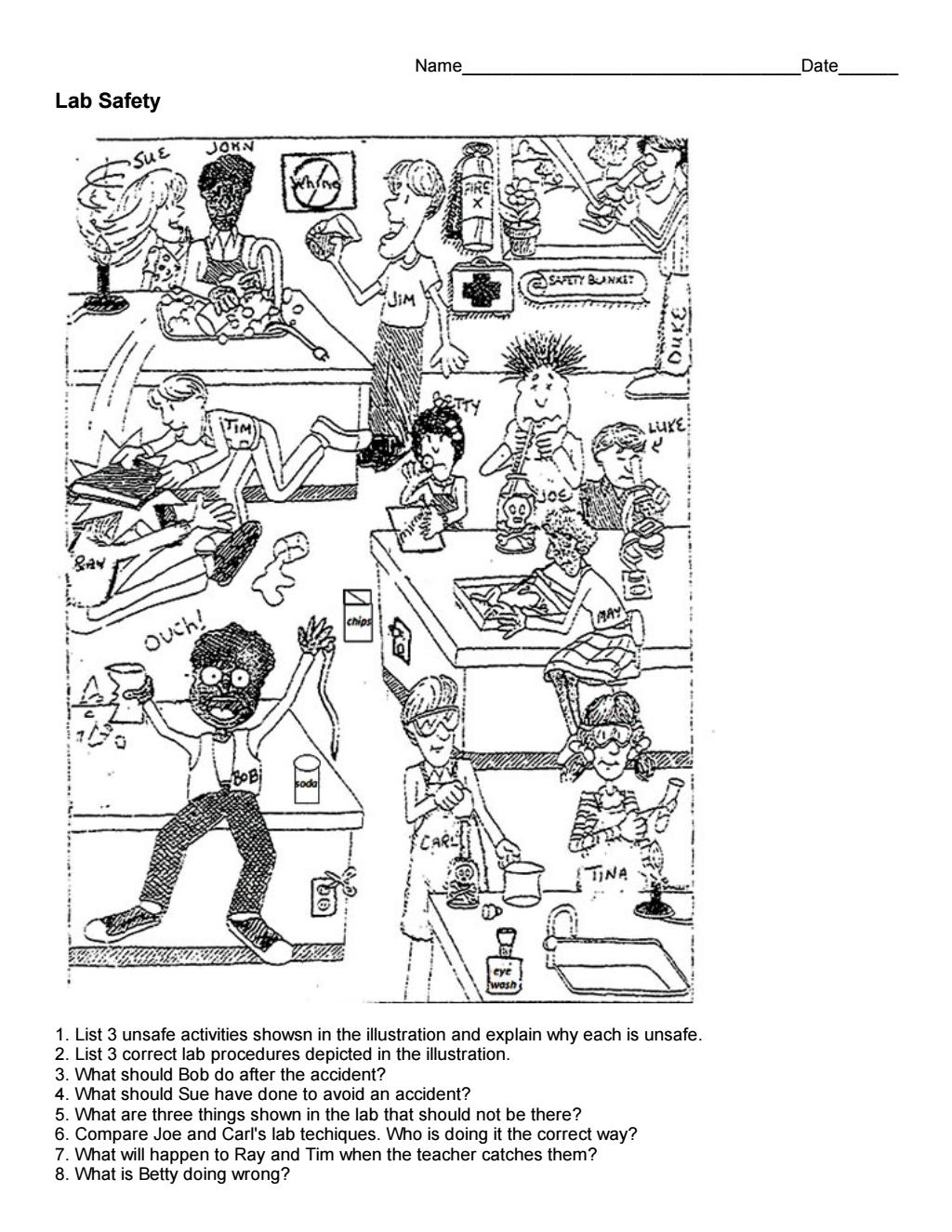 Cartoon On Lab Safety