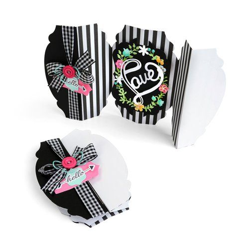 Sizzix - Hello Love Collection - Thinlits Die - Card, Rounded Label Fold-a-Long