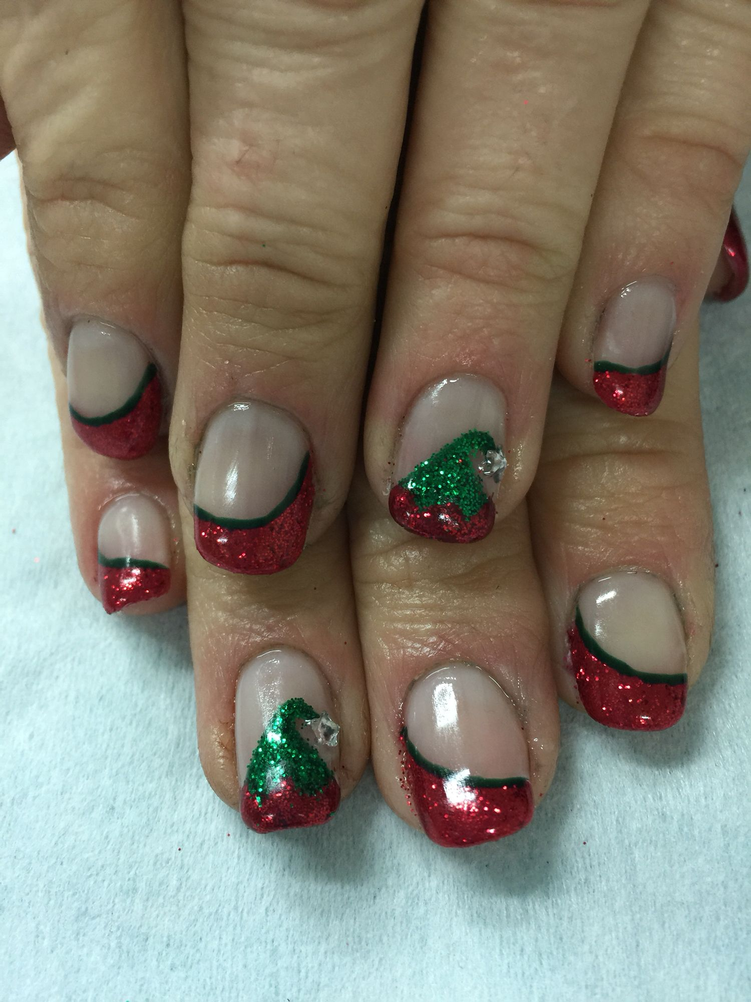 Glittered Red & Green Christmas Elf Hat gel polish over non-toxic ...