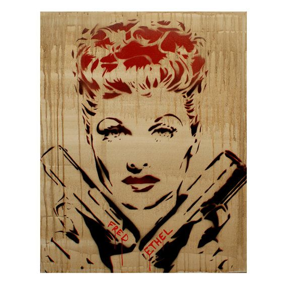 Lucille Ball Portrait 24x30 Buster I Love Lucy Inspired Original Painting Graffiti Street Art Thug Gangster Urban Pop