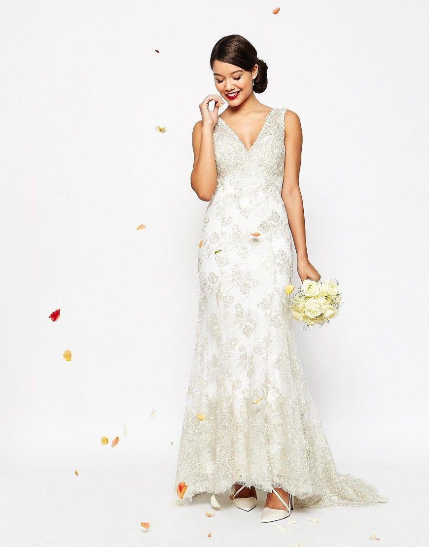 ASOS - Vestito da sposa lungo vintage a sirena in pizzo con bottoni sul retro