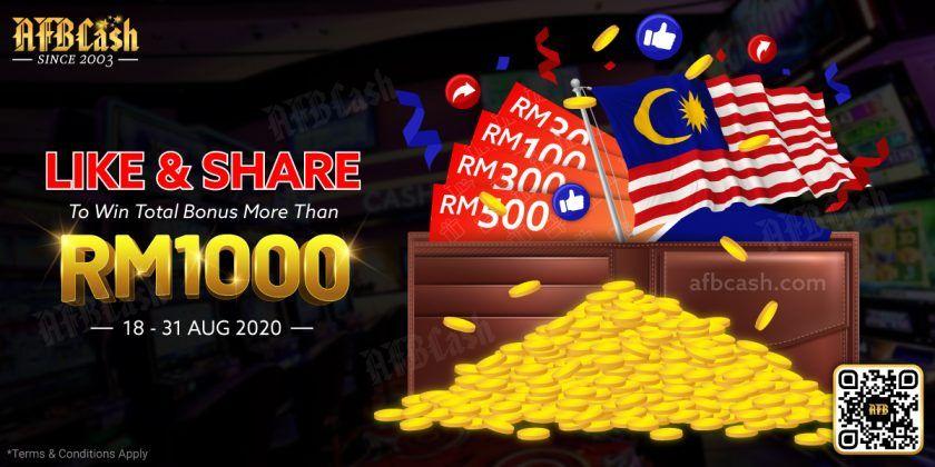 Merdeka Special Like Share To Win Free Bonus 2020 Online Casino Malaysia 2020 Casino Online Casino Casino Promotion