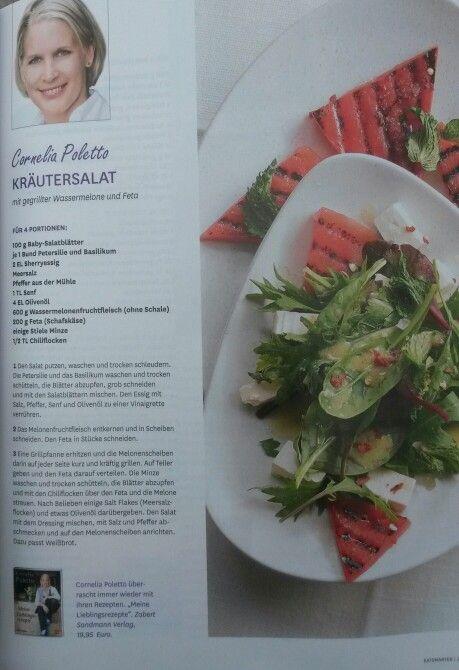 Kräutersalat mit gegrillter Wassermelone und Feta