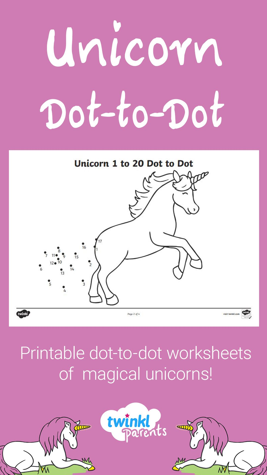 Unicorn Themed 1 To 20 Dot To Dot Worksheets