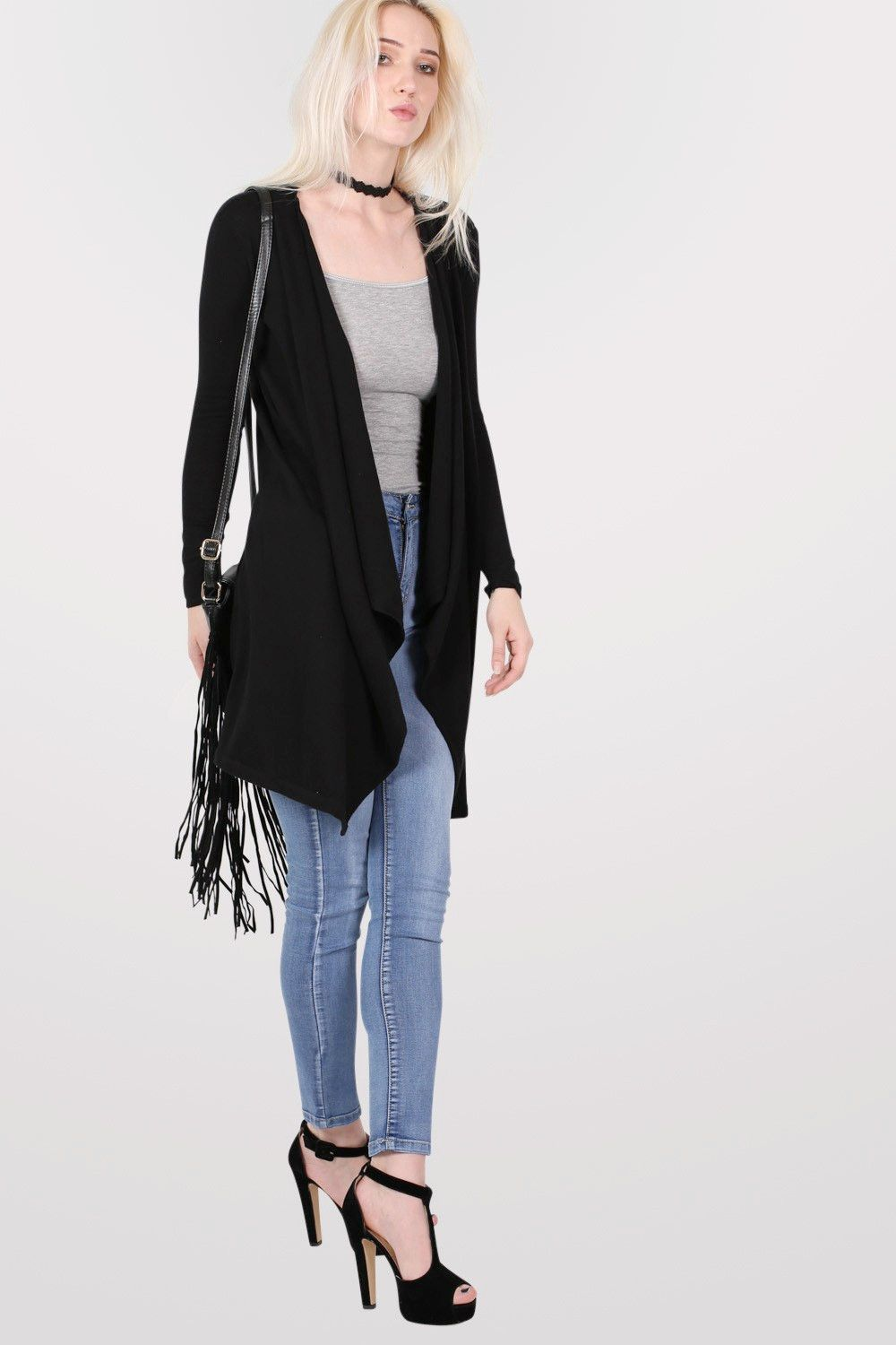 Plain Waterfall Open Front Cardigan in Black | Products, Cardigans ...