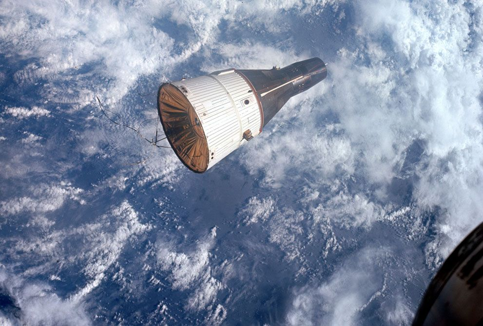 Gemini 6A approaches for the first manned rendezvous with another spacecraft, its sister Gemini 7, on December 15, 1965.
