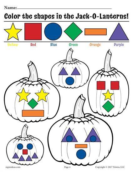 FREE Printable Jack-O-Lantern Shapes Coloring Pages! | Adornos ...