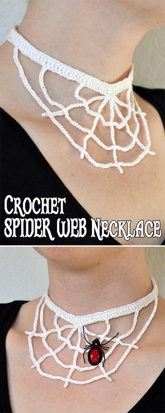 Crochet Spider Web Necklace | Pinterest