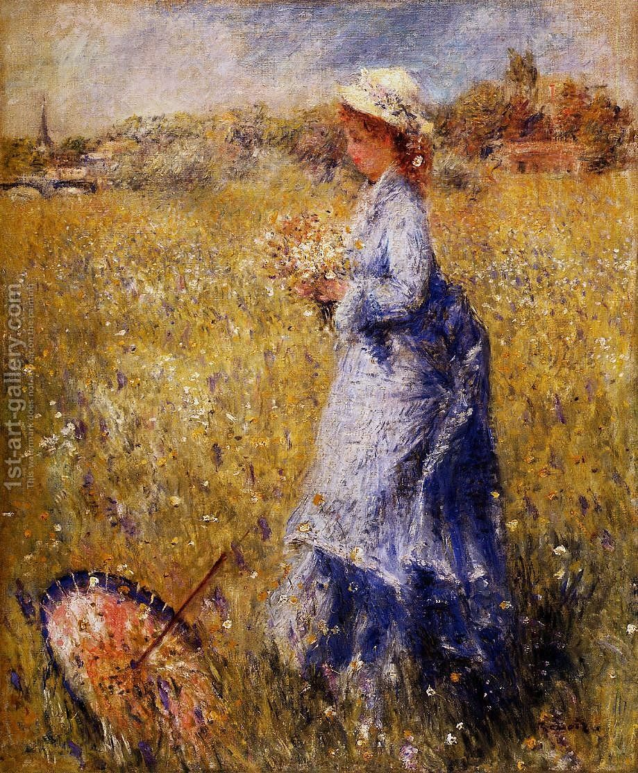 Girl Gathering Flowers Painting By Pierre Auguste Renoir Reproduction 1st Art Gallery Renoir Paintings Renoir Art Pierre Auguste Renoir