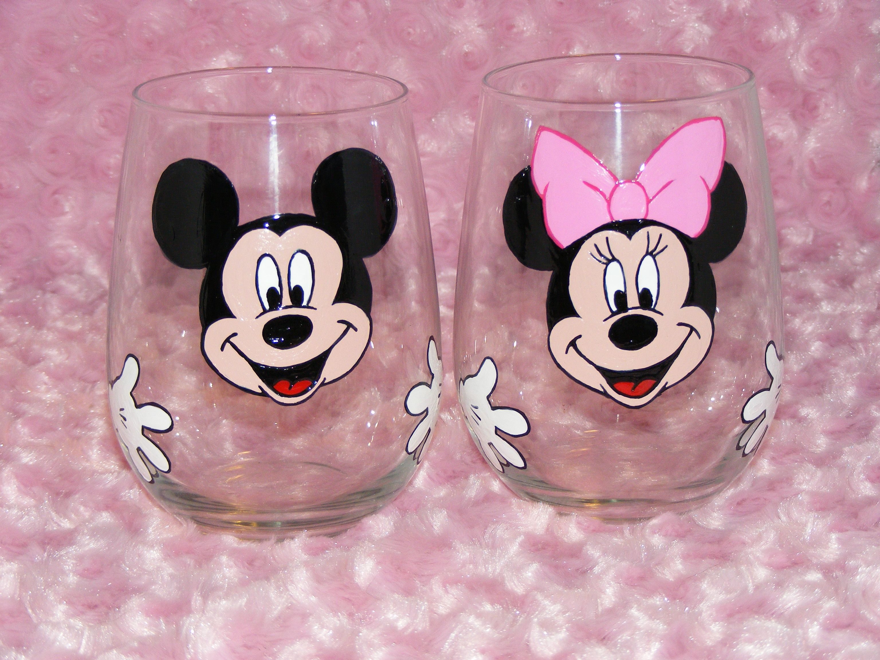 Custom Mickey and Minnie Mouse stemless wine glasses | my painted ...