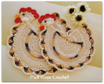 PINK ROSE CROCHET: Chickens Galinhas Pega Panelas