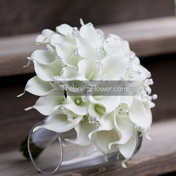 White calla lily wedding bouquet real touch by TheBridalFlower