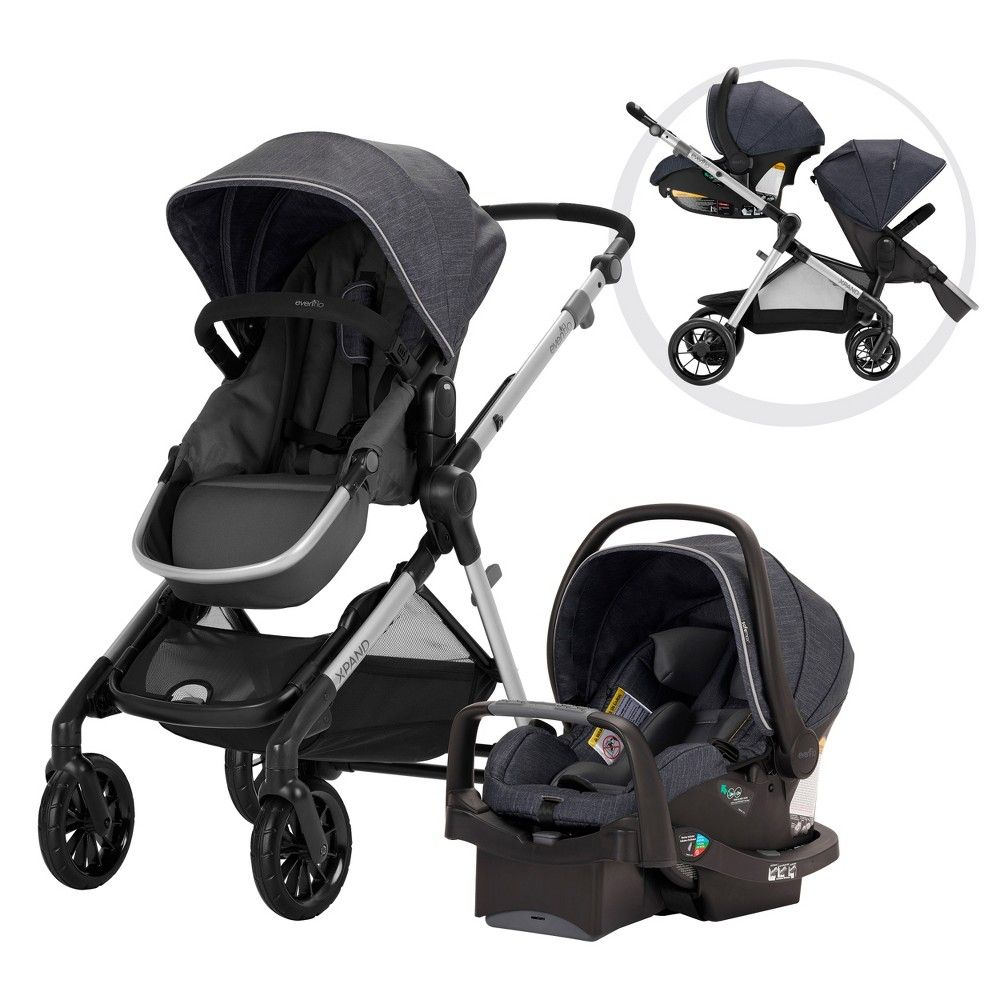 Evenflo Pivot Xpand Modular Travel System with Safemax Infant Car Seat-Roan