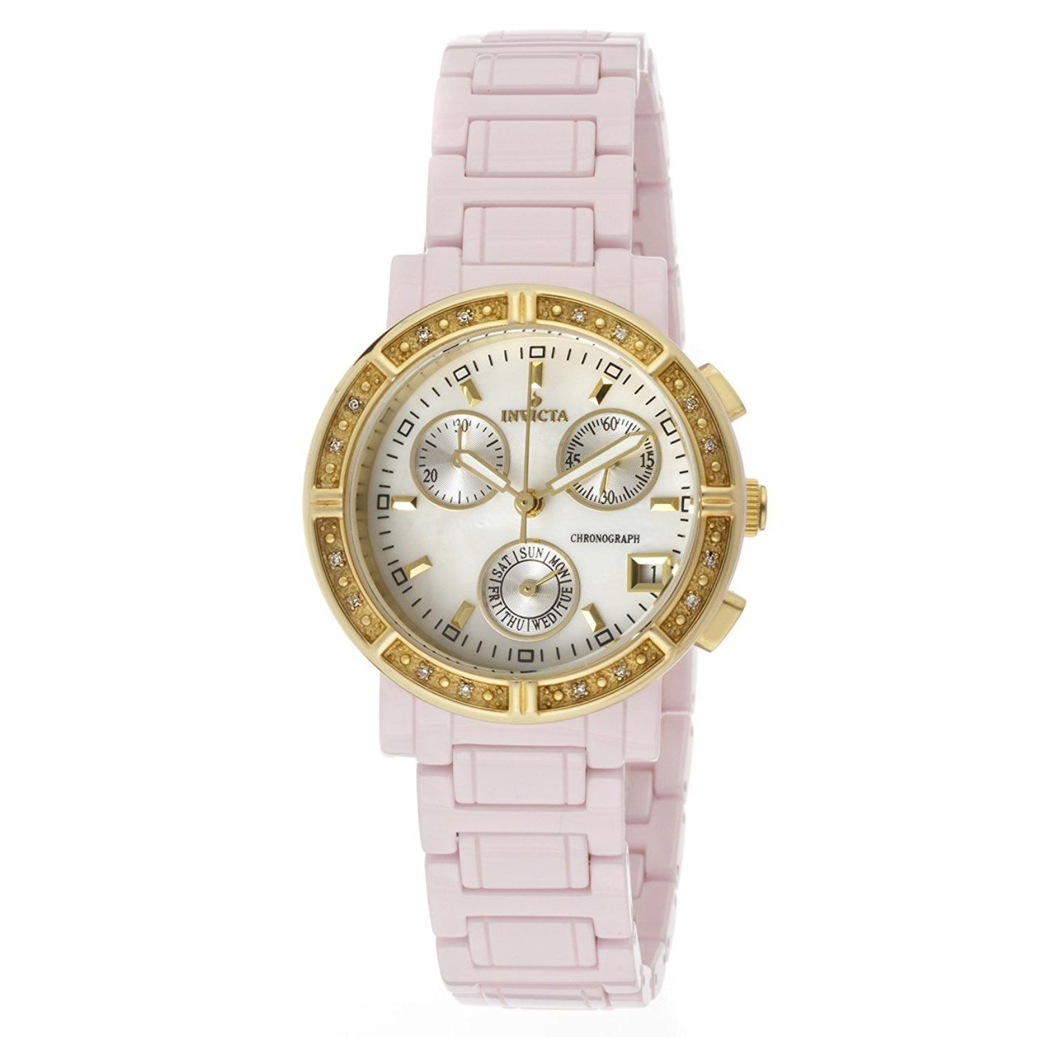 6a176a0cdb6d Invicta Women s 10319 Ceramics Diamond Accented Chronograph White Mother-Of-Pearl  Dial Pink Ceramic