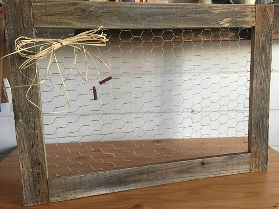 Rustic Chicken wire frame made from reclaimed wood. Measures 28X20 ...