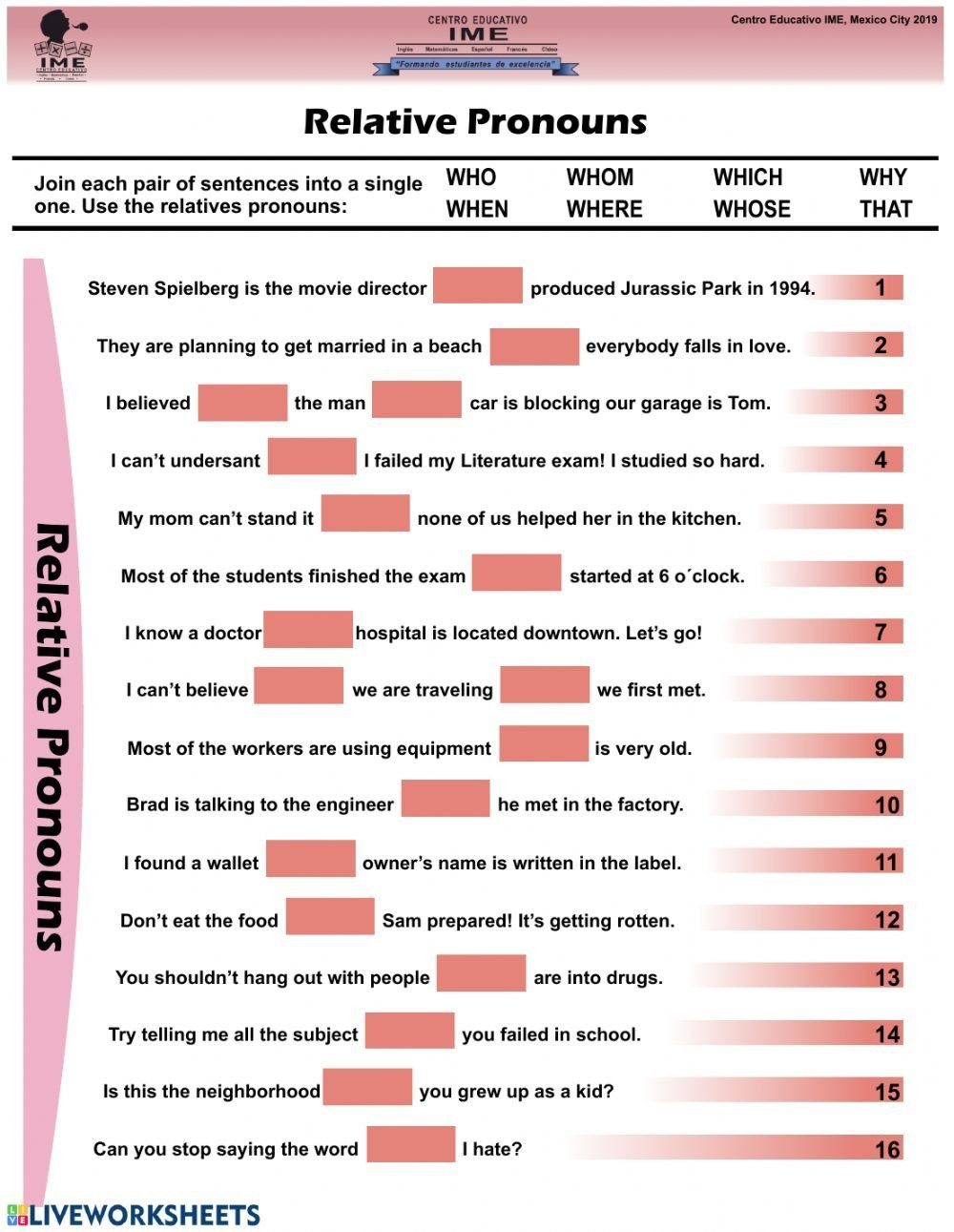 Relative Pronouns 4th Grade Worksheets Relative Pronouns Online Worksheet And Pdf In 2020 Pronoun Worksheets Relative Pronouns Kindergarten Worksheets Sight Words