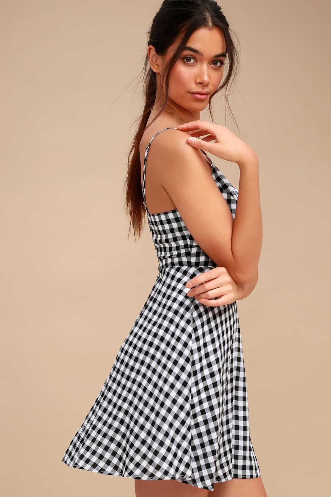 43fd5b3112c5 Plaid Romance Black and White Gingham Print Skater Dress | spring ...