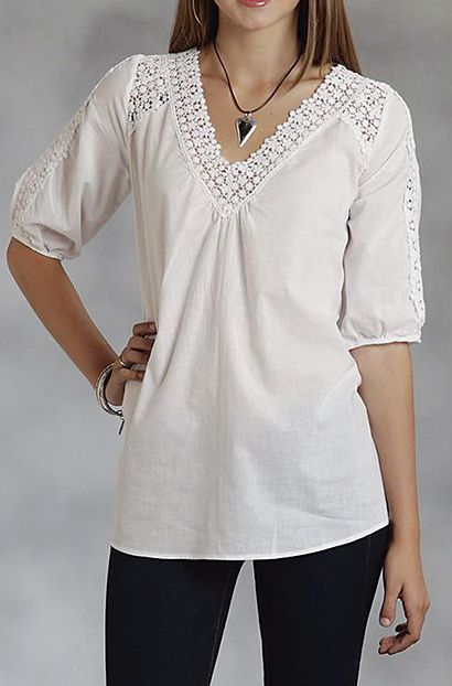 White Crochet-Trim V-Neck Top