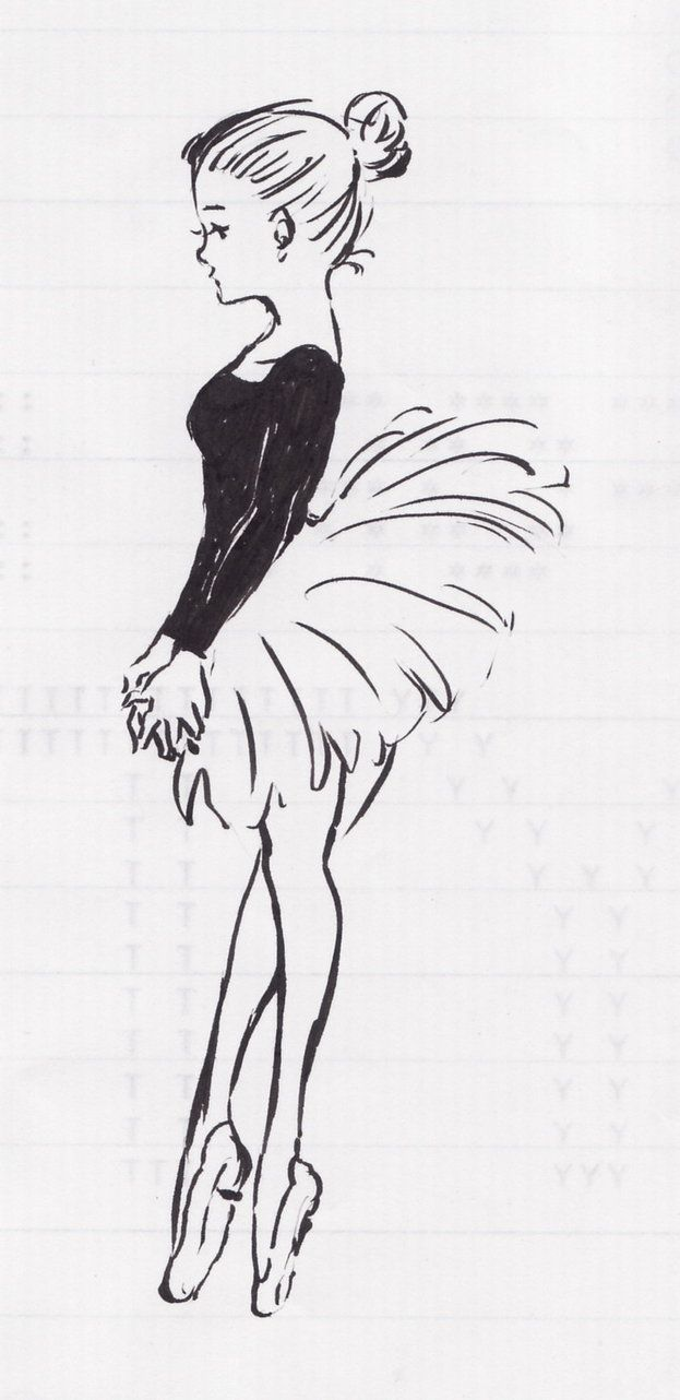 Cartoon Ballet Sketches Easy Charcoal Drawings Drawings
