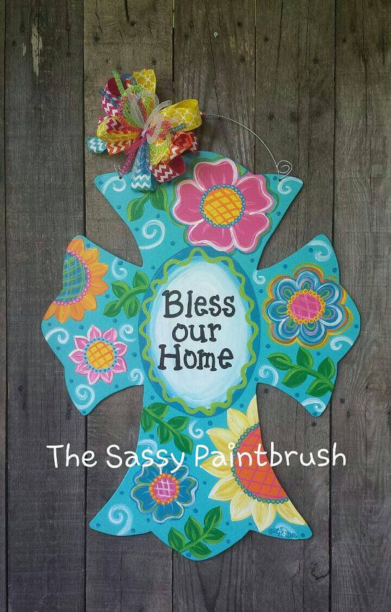 Photo of Bless Our Home wooden cross door hanger 28 X 22 inches…
