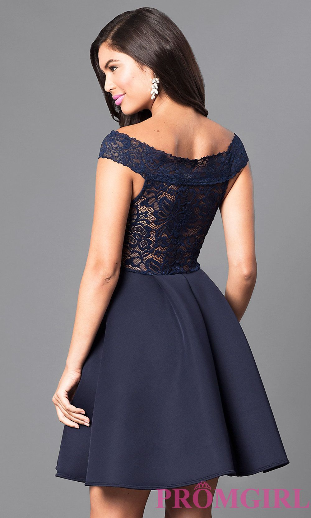 Image Of Navy Off The Shoulder Lace Bodice Homecoming Dress Back