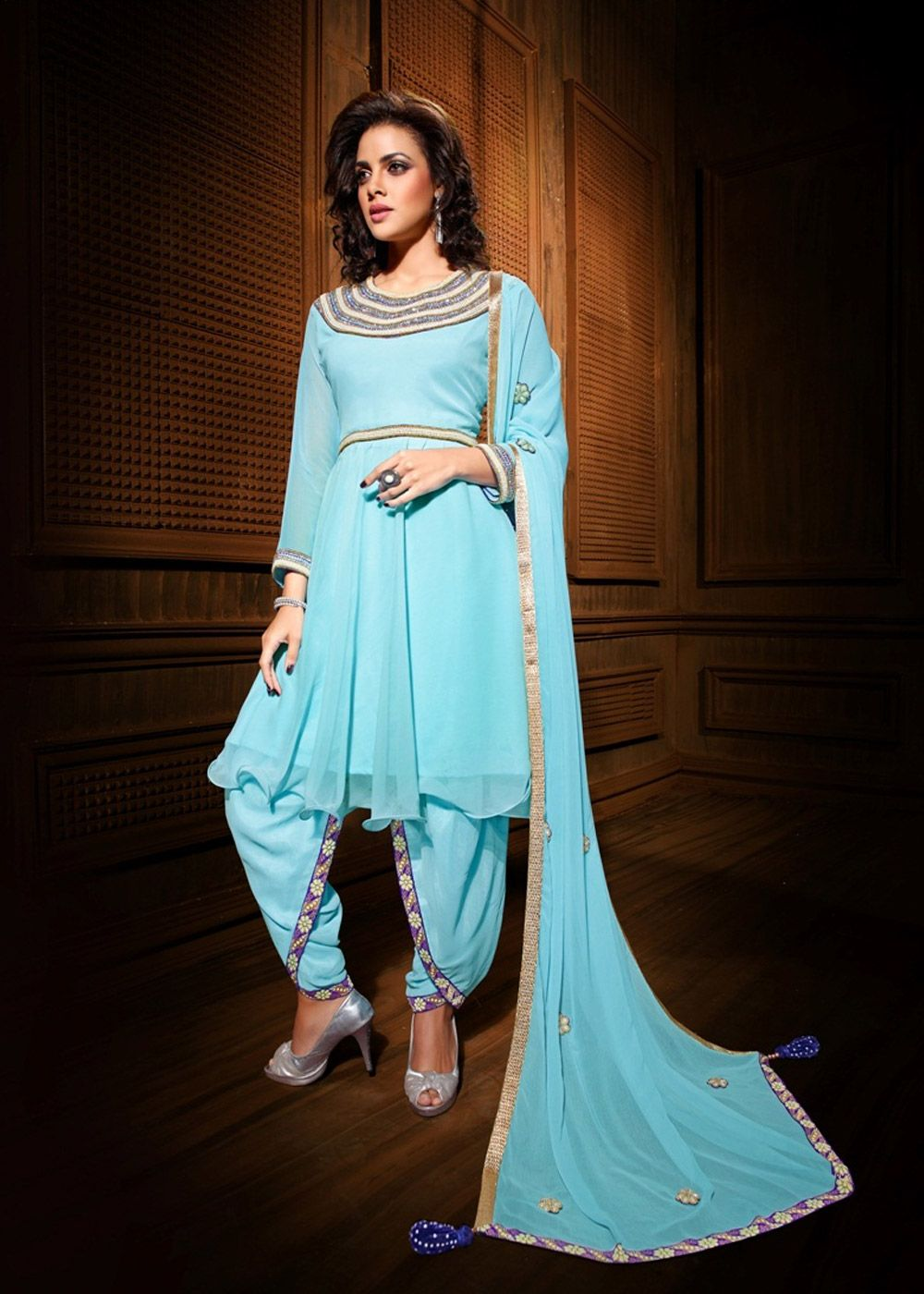 Light Blue Georgette Kameez With Dhoti Pant Online Shopping ...
