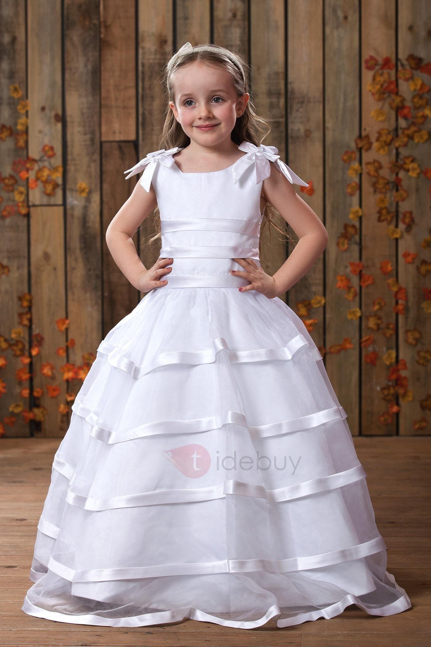 Tidebuy tidebuy lovely aline straps bowknot flower girls dress