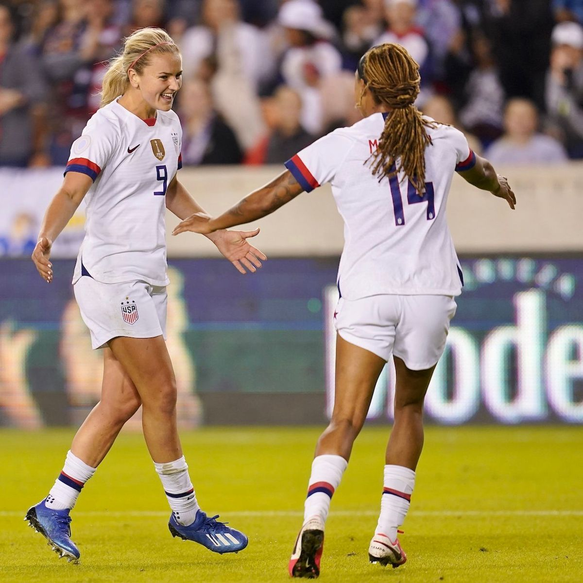 Lindsey Horan 9 And Jessica Mcdonald 14 Uswnt 2020 Concacaf Women S Olympic Qualifying Tournament Panama Vs Usa Janu Uswnt Jessica Mcdonald Womens Soccer