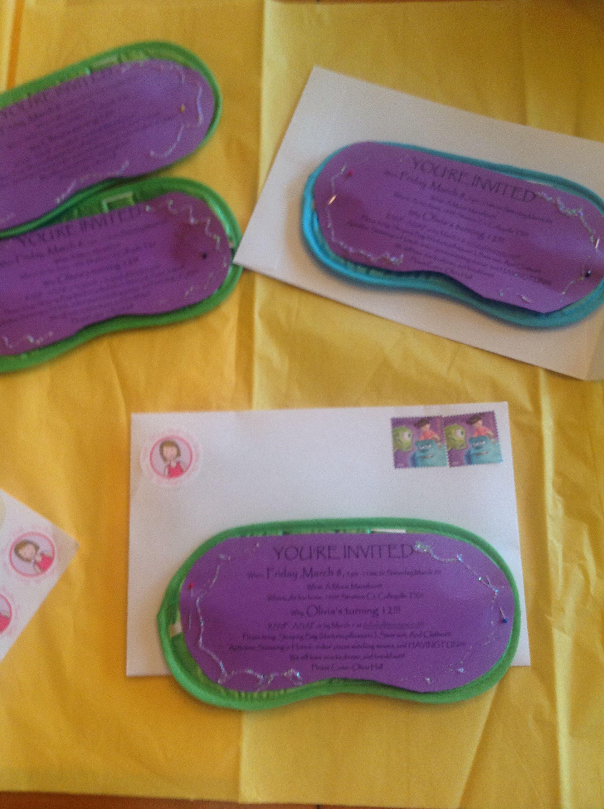 12 Year Old Birthday Party Invitations On Sleep Mask Sleepover