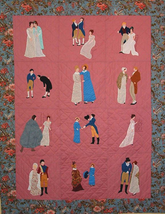 """""""Pride & Prejudice quilt. Beautifully made! All Jane Austen lovers need one!"""