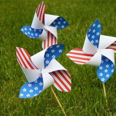 4th of july crafts for kids - Pin wheels...so easy to make...just get some 4th of July looking paper...some sticks and a pin and look it up online how to make these if you don't know how!