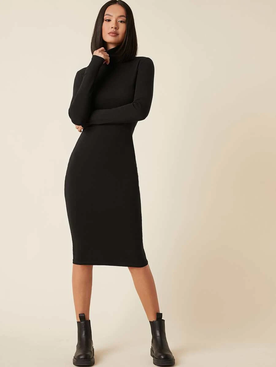 High Neck Solid Bodycon Dress Shein Usa In 2021 Bodycon Dress Clothes Dresses [ 1198 x 900 Pixel ]