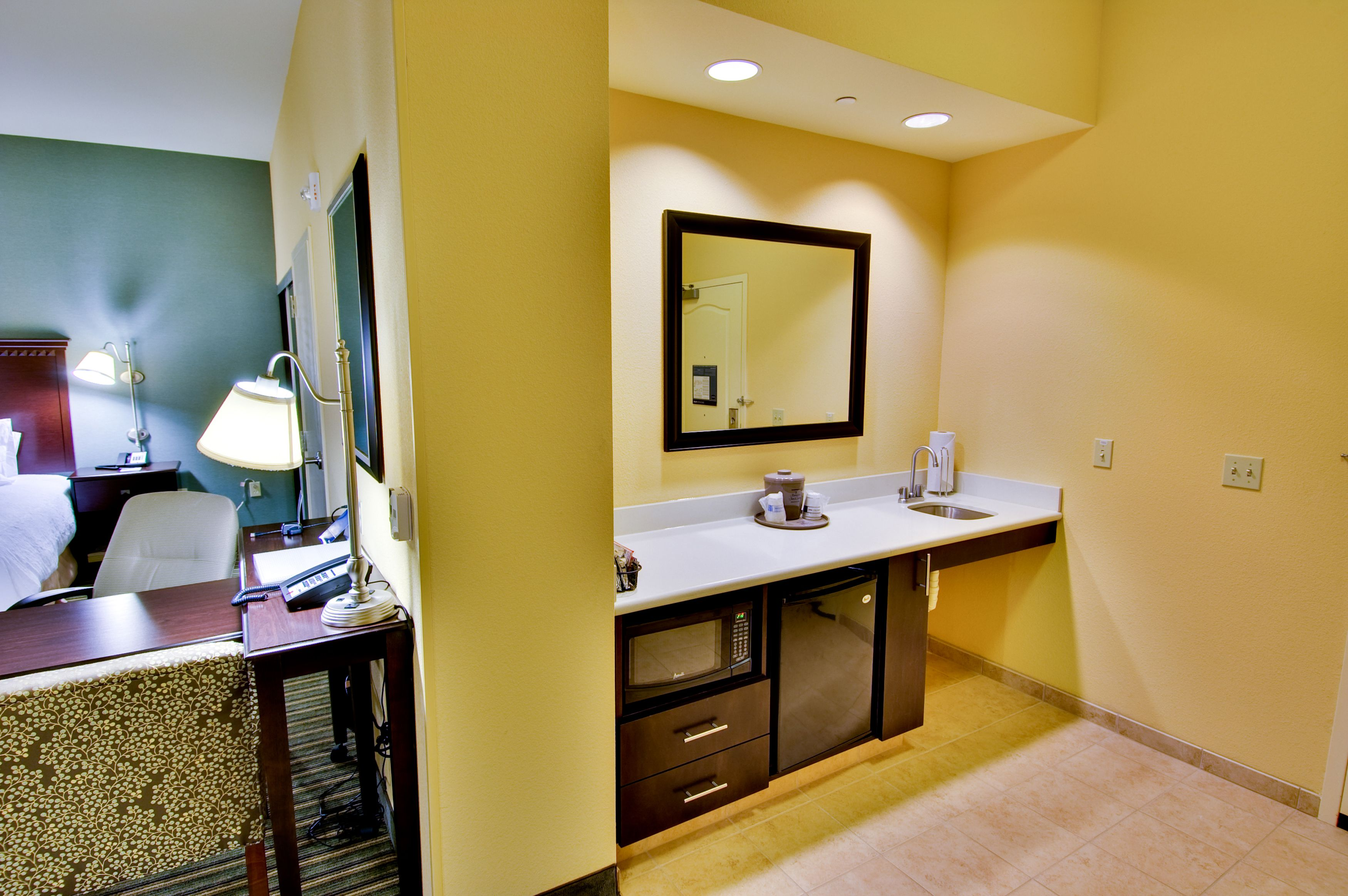 Take advantage of all the bennefits provided by our guest suites, including a petite kitchenette with microwave and mini fridge!