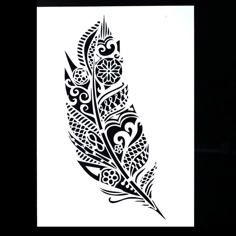 DIY Decorative Mandala Feather Stencil Template for Scrapbooking Painting on Walls Furniture Crafts A4 Size