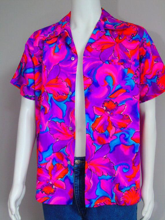 0cc4a41c Pomare Tahiti Fluorescent Neon Shirt Vintage Dated 1974 G.V.H. ...