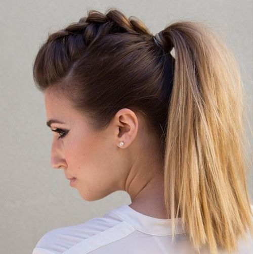 Braided Mohawk And Pony Hairstyle Pony Hairstyles Hair Styles Braided Ponytail Hairstyles