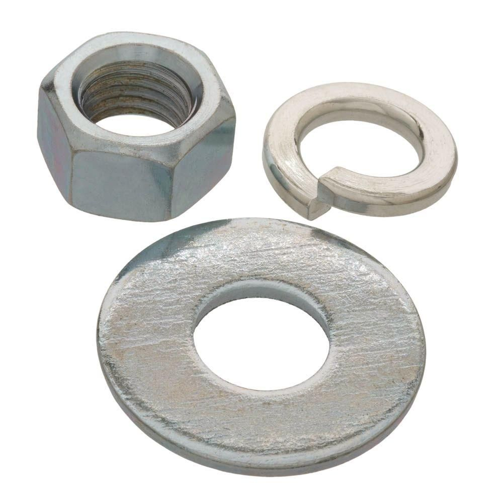 Everbilt 1 2 In Zinc Plated Nuts Washer And Lock Washer 6 Piece Per Pack In 2020 Zinc Plating Nuts And Washers Flat Washer