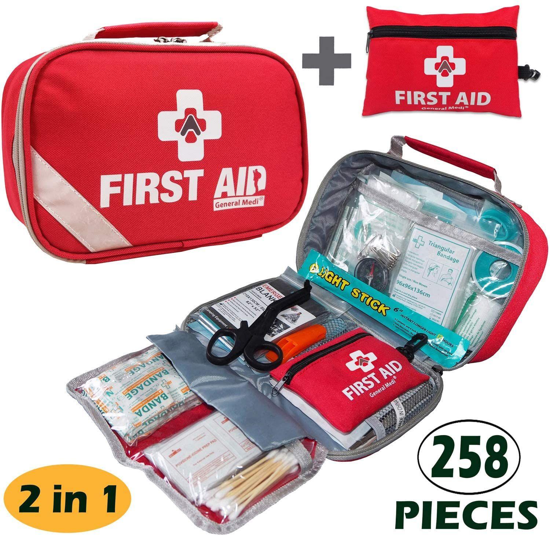 2 In 1 First Aid Kit 215piece Bonus 43piece Mini First Aid Kit Mini First Aid Kit First Aid Kit Travel First Aid Kit