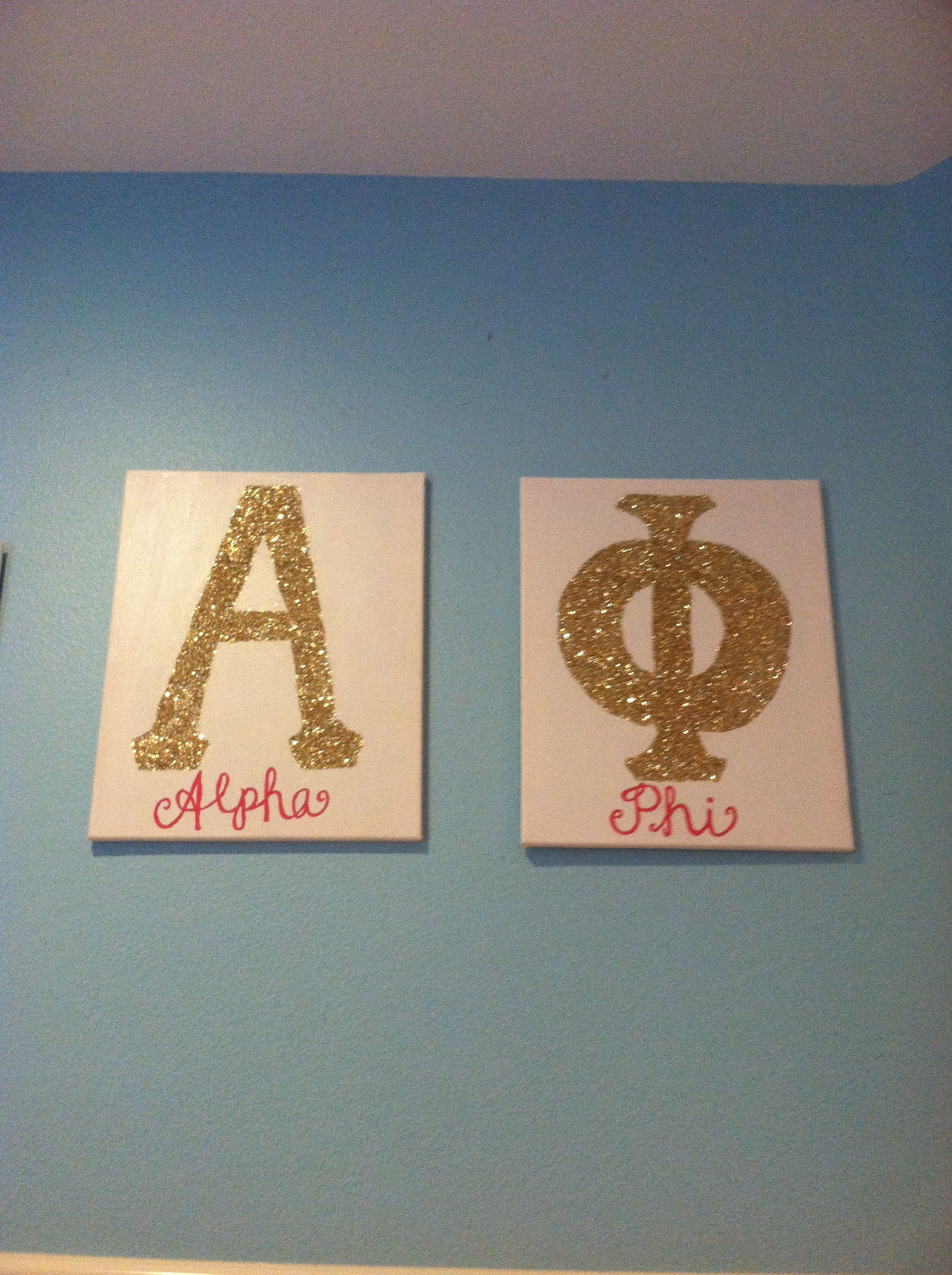 Alpha phi canvases! Coral and gold