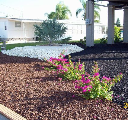 Light brown and black rubber mulch with white stone for for White gravel landscaping