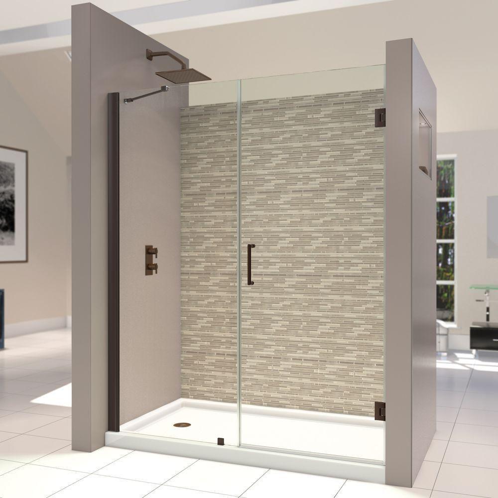 Dreamline Unidoor 58 To 59 In X 72 In Frameless Hinged Shower Door In Brushed Nickel Shdr 20587210 04 Shower Doors Frameless Shower Doors Frameless Shower