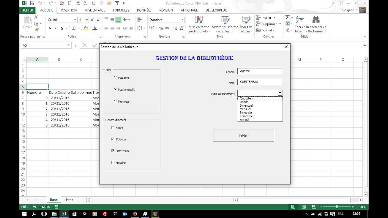Vba Excel 7 Formulaire De Saisie L Envoi Des Donnees Dans La Base Approche De L Utilisation Des Fonctions De Feuille De Bureautique Informatique Formulaire