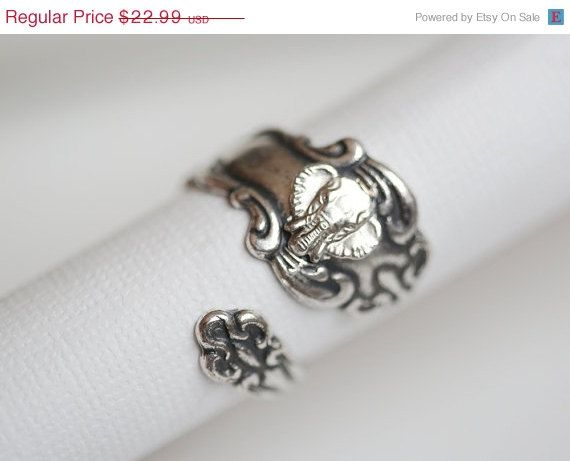 ON SALE Antique Spoon Ring, Silver Elephant Ring, Silver Spoon Ring,Antique Ring,Silver Ring,Wrapped,Adjustable,Bridesmaid.
