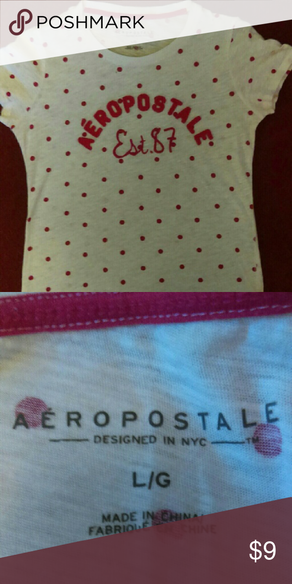 *Polka Dot Aeropostale Tee* Hot Pink Polka Dot Aeropostale short sleeve tee,worn once. 60% cotton 40% poly.In excellent condition! Aeropostale Tops Tees - Short Sleeve